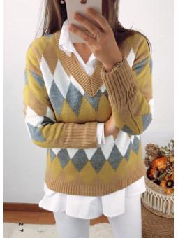 Suéter rombos tonos mostaza...