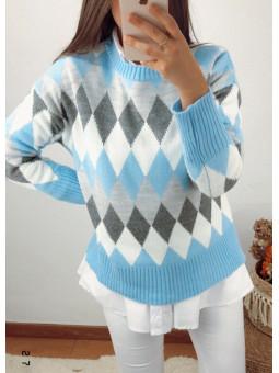Suéter rombos tonos azul y...