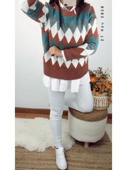 Suéter rombos tonos verde y...