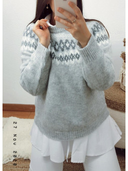 Suéter gris cenefa Suiza (V08)