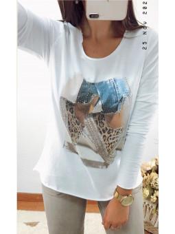 Camiseta blanca manga larga...