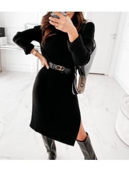 Vestido negro canalé...