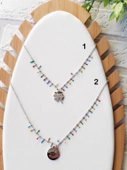 Collar plata figura multicolor