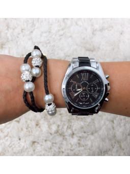 Conjunto reloj plata y...