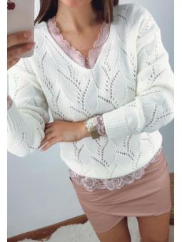 Suéter troquelado marfil...