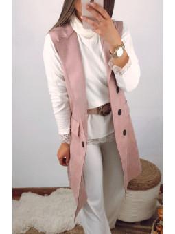Chaleco antelina rosa...
