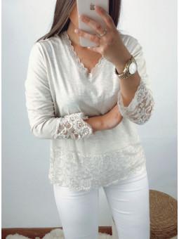 Camiseta lencera beige Tati...