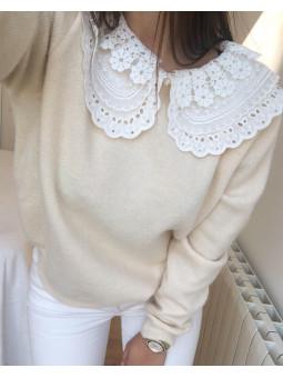 Suéter beige cuello bobo...