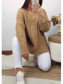 Suéter lana camel trenzado...