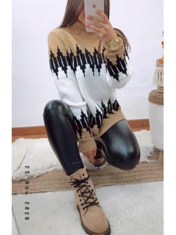 Suéter combinado camel y...