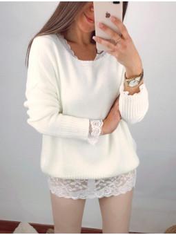Suéter blanco bajo...