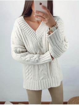 Suéter lana arena trenzado...