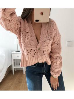 Chaqueta lana rosa botones...