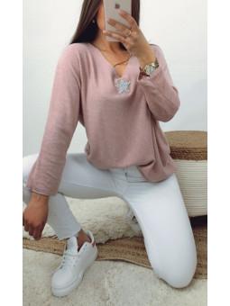 Suéter punto fino rosa...