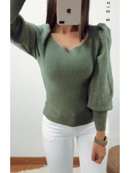 Suéter manga abullonada...