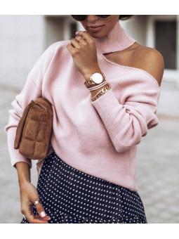 Suéter rosa claro desigual...