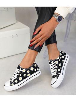 Zapatillas negras flores 9937