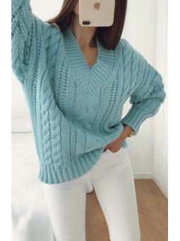 Suéter lana turquesa...