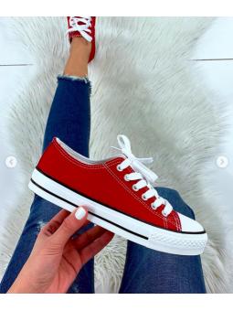 Zapatilla Spring roja raya...