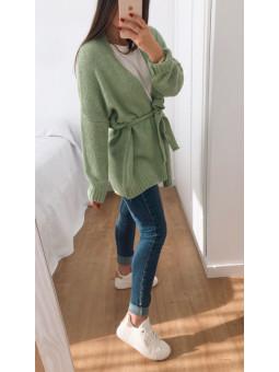 Cardigan lana verde...