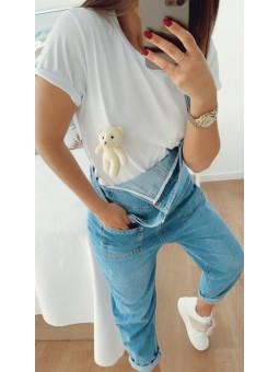 Camiseta blanca osito peluche