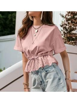 Blusa rosa puntilla bajo