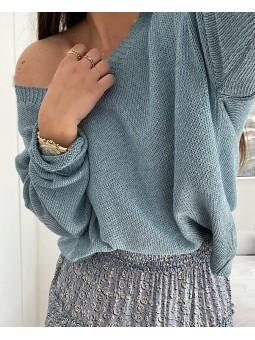 Suéter azul jean escote...