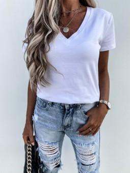 Camiseta escote pico blanca...