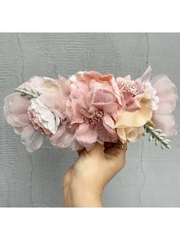 Cinturón flores tonos rosas