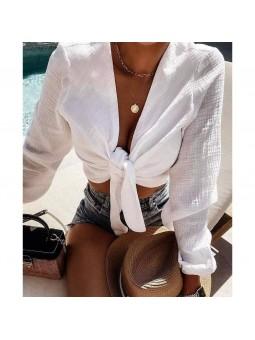 Blusa  blanca anudado en...