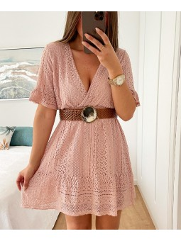 Vestido croché rosa Ibiza...