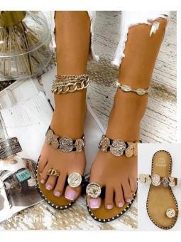 Sandalias monedas tira camel