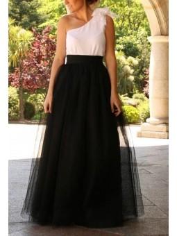 Falda tul larga negra