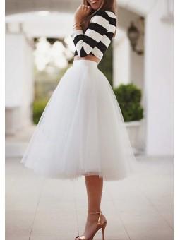 Falda de tul midi blanca