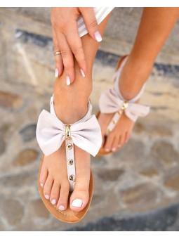 Sandalia rosa lazo...