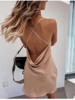 Vestido saten beige espalda...