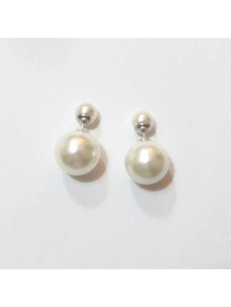 pendientes doble perla