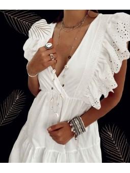 Vestido blanco escote...
