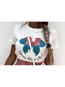 Camiseta lazo fucsia y azul