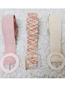 Cinturón rafia tonos pastel...
