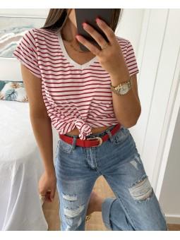 Cinturón fino rojo hebilla...