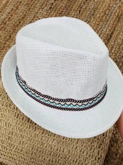 Sombrero blanco cinta tonos...