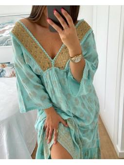 Vestido largo turquesa...