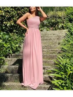 Vestido asimetrico rosa