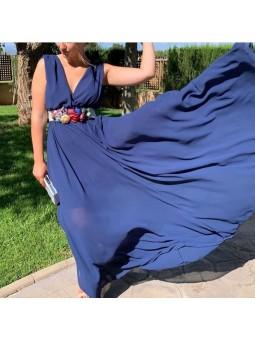 Vestido gasa azul marino