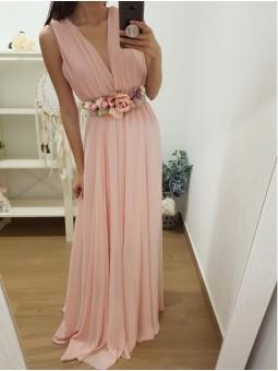 Vestido gasa rosa claro