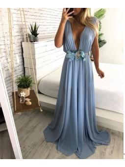 Vestido gasa azul claro