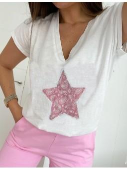Camiseta blanca escote pico...