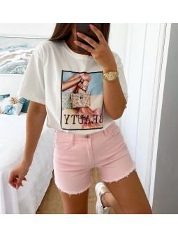 Camiseta blanca manga corta...