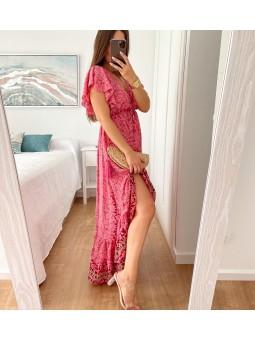 Vestido asimétrico rosa...